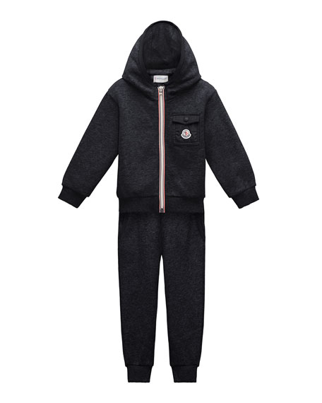 Moncler Hooded Zip-Front Track Jacket w/ Pants, Navy,
