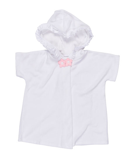Hooded Short-Sleeve Terry Coverup, White, Size 6-24 Months
