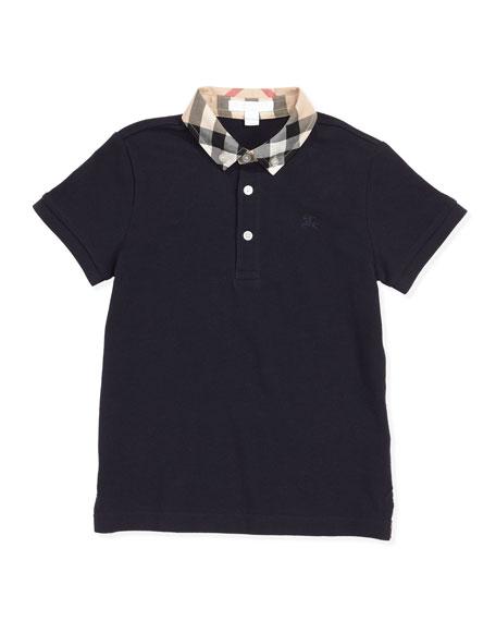 William Check-Collar Polo, True Navy, 4Y-10Y