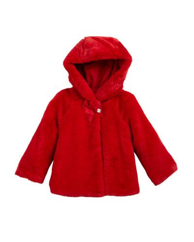 Faux-Fur Hooded Coat, Size 12-36 Months