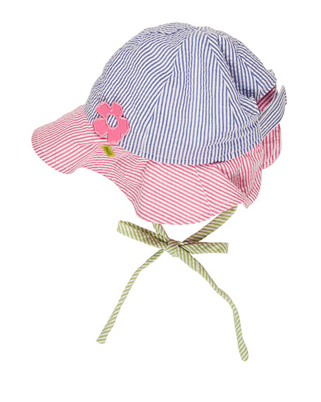 Florence Eiseman Striped Seersucker Baby Hat, Multicolor