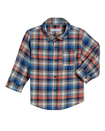 Long-Sleeve Gingham Poplin Shirt  Size 3-24 Months