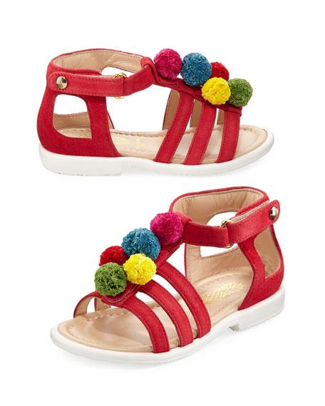 Suede Pompom Sandal, Red/Multicolor, Infant