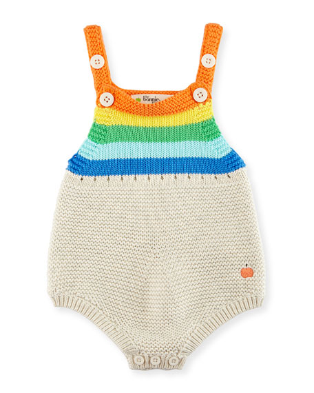 Sleeveless Striped Organic Cotton Playsuit, Multicolor, Size 0-24