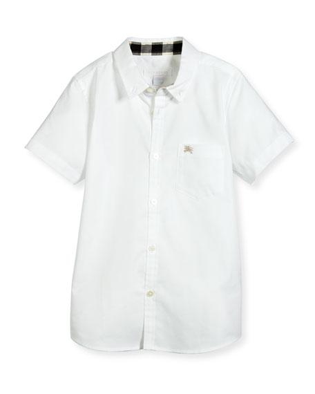 Fred Short-Sleeve Cotton Poplin Shirt, White, Size 4-14