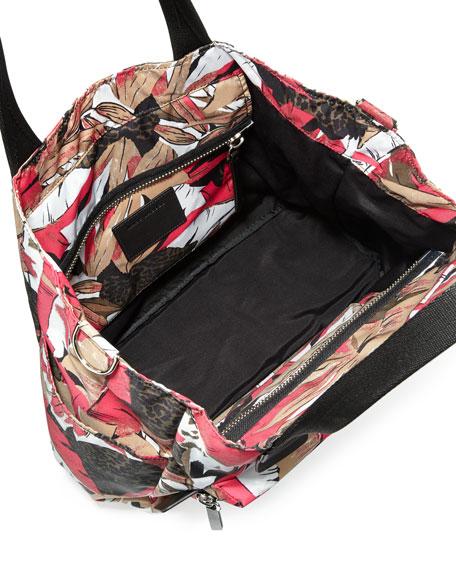 Biker Leather-Trim Nylon Babybag, Pink/Multicolor