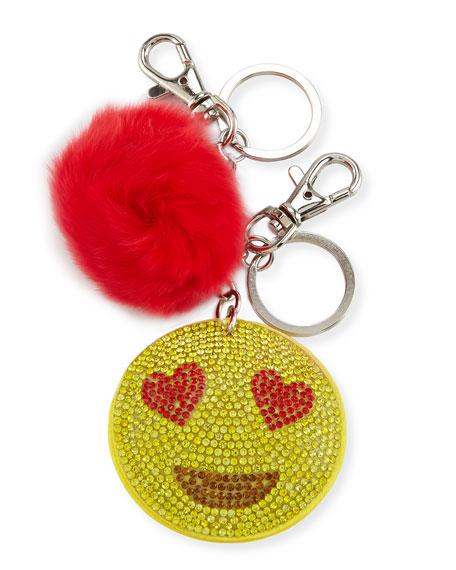 Bari Lynn Girls' Crystal Heart Eye Emoji Fur