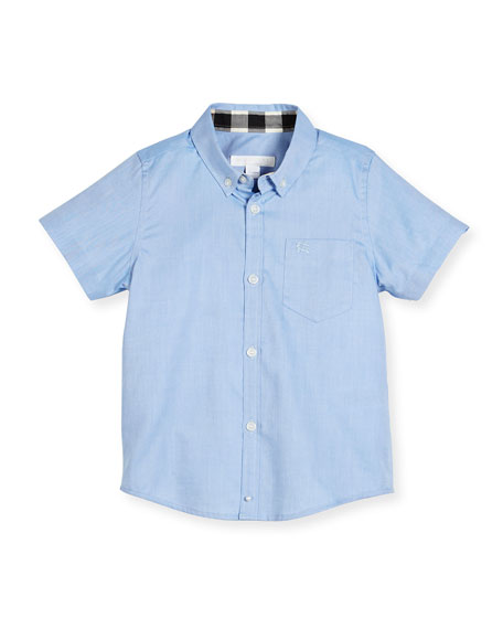 Fred Short-Sleeve Cotton Poplin Shirt, Blue, Size 4-14