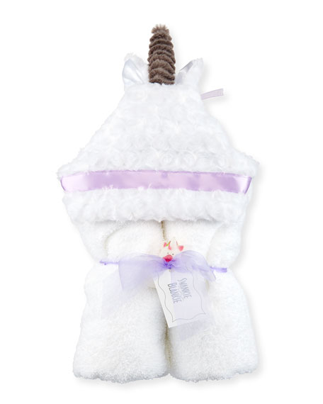 Unicorn Hooded Towel, White