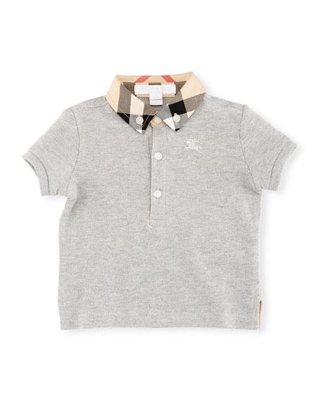 Burberry Mini William Check-Collar Pique Polo Shirt, Gray,