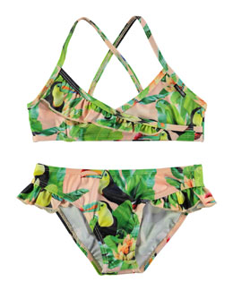 Norma Cross-Back Toucan Bikini, Green, Size 2T-14