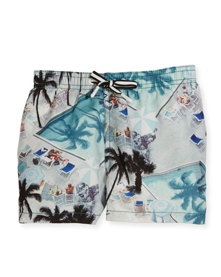 Molo Niko Swimming Pools Board Shorts, Blue, Size