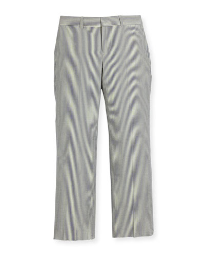 Striped Seersucker Woodsman Pants, Blue/Cream, Size 4-7