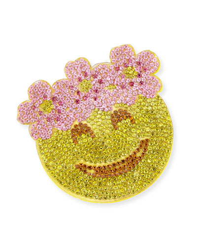 Girls' Crystal Floral Halo Emoji Hair Clip, Yellow/Pink