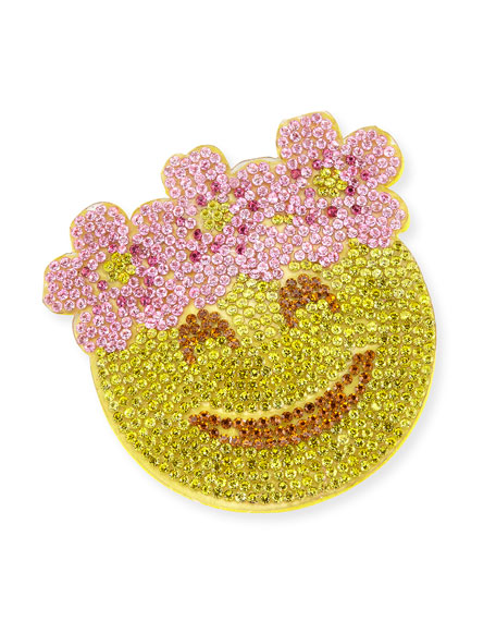 Girls' Crystal Floral Halo Emoji Hair Clip, Yellow/Pink