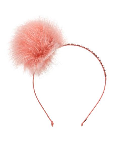 Girls' Rhinestone & Fox Fur Pompom Headband, Coral
