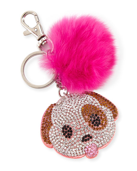 Girls' Dog Emoji Fur-Pom Key Chain, Multicolor