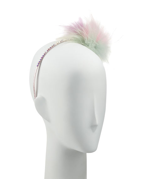 Girls' Pastel Rhinestone & Fox Fur Headband, Multicolor