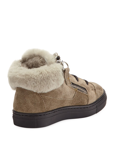 Jasmin Suede Shearling-Lined Boot, Neutral, Toddler