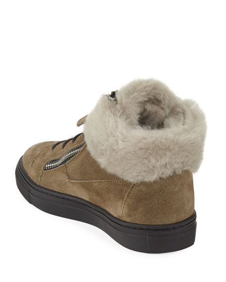 Jasmin Fur-Trim Suede Boot, Toddler