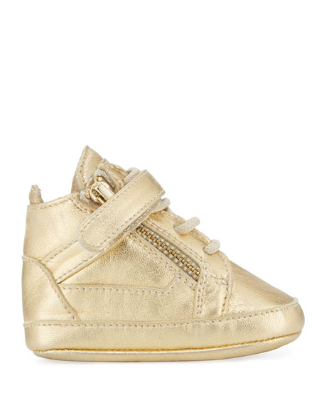 Kids' Unisex Metallic Leather High-Top Sneaker, Yellow, Infant