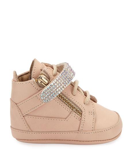 Birel Crystal-Strap High-Top Sneaker, Pink, 0-9 Months