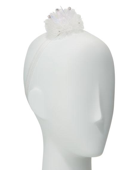 Girls' Flower Pompom Stretch Headband, White