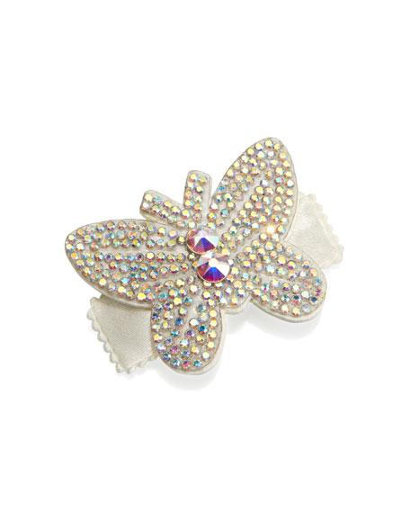 Girls' Rhinestone Butterfly Hair Clip, White