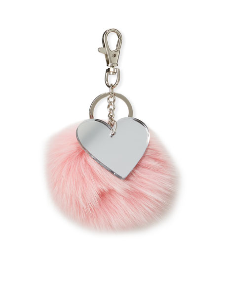 Bari Lynn Girls' Fur Pompom Keychain