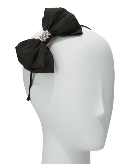 Bari Lynn Girls' Taffeta Bow Headband, Black