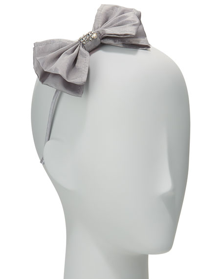 Girls' Taffeta Bow Headband, Silver