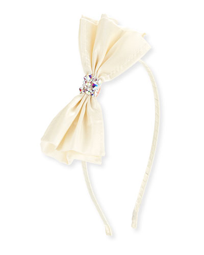 Girls' Taffeta Bow Headband, White
