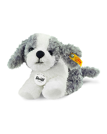 Steiff Little Tommy Stuffed Plush Puppy, Gray/White
