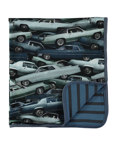 Molo Niles Reversible Stacked Cars Blanket, Blue