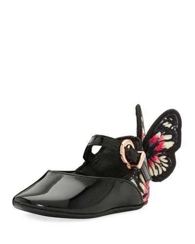 Chiara Patent Ankle-Strap Flat, Black, Toddler/Youth