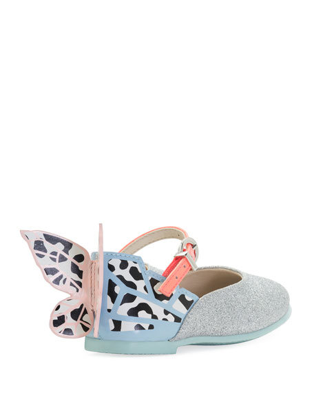 Chiara Glittered Ankle-Strap Flat, Gray, Toddler/Youth