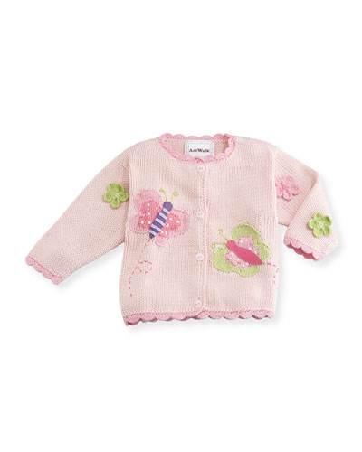 Butterflies Cotton Button-Front Sweater  Pink  Size 12-24 Months
