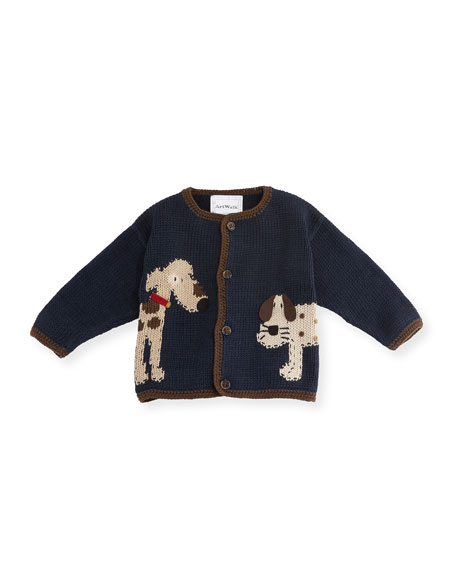 Art Walk Woof Woof Cotton Button-Front Sweater, Blue,