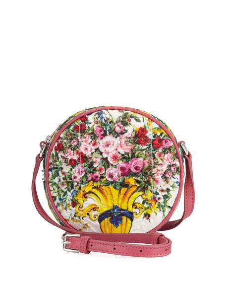 Girls' Floral Vase Round Crossbody Bag, Pink Pattern