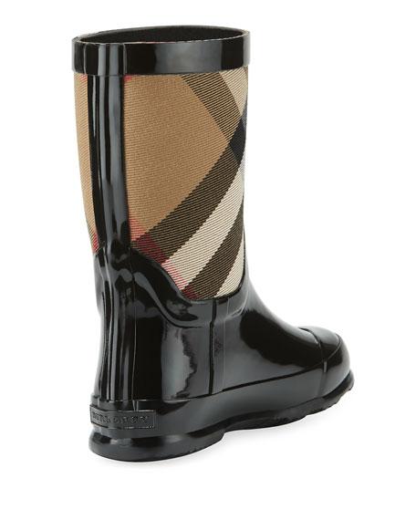 Rainmoor Check Rubber Rainboot, Black, Toddler Sizes