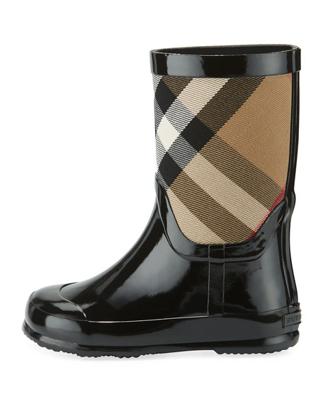 Rainmoor Check Rubber Rainboot, Black, Youth