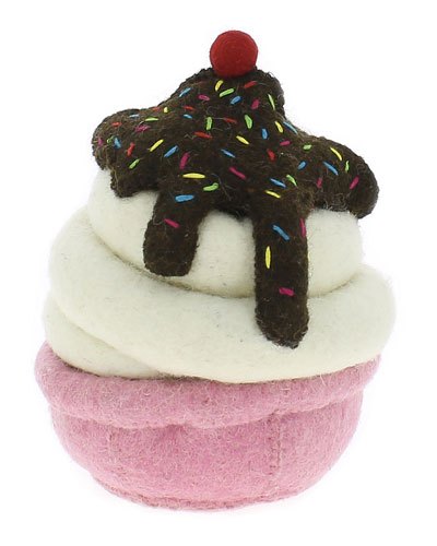 Ice Cream Sundae Wool Felt Bookend, Multi