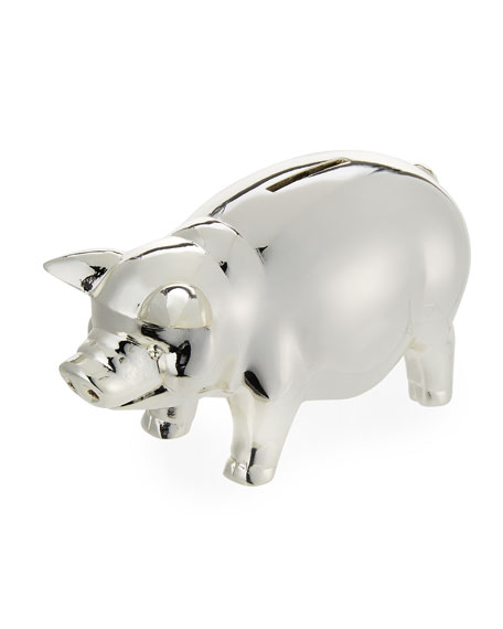 reed barton classic silver plated piggy bank
