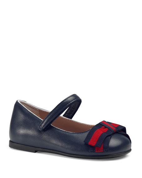 Leather Ballet Flats W/ Web Bow, Toddler/Kids in Blue