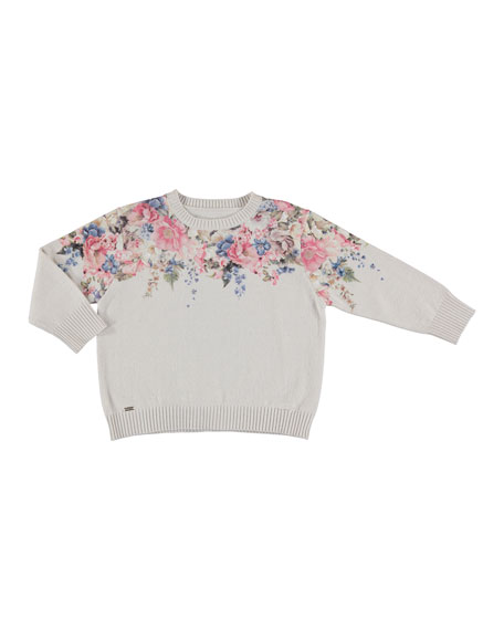 Mayoral Floral-Print Sweater, Beige, Size 5-16