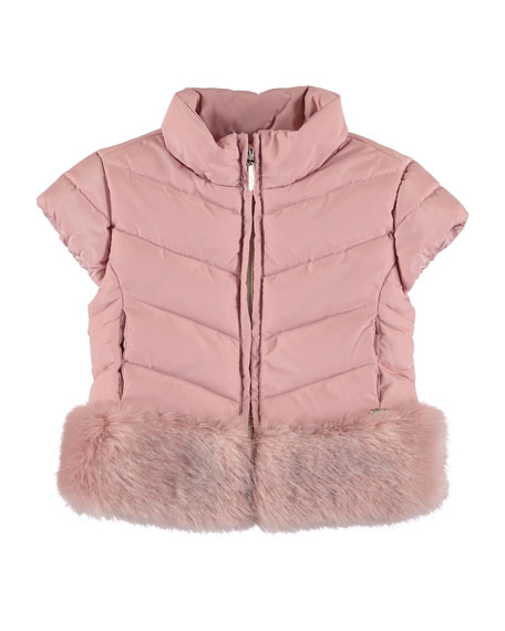 Quilted Cap-Sleeve Coat w/ Faux-Fur Trim, Size 3-7