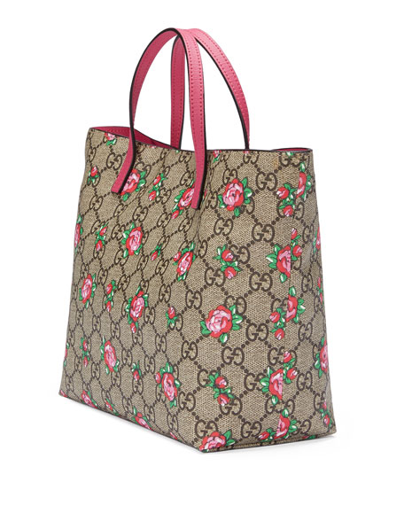 Girls' GG Supreme Rosebud Tote Bag, Beige