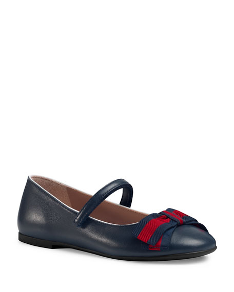 Leather Ballet Flat w/ Web Bow, Sizes 10T-2Y