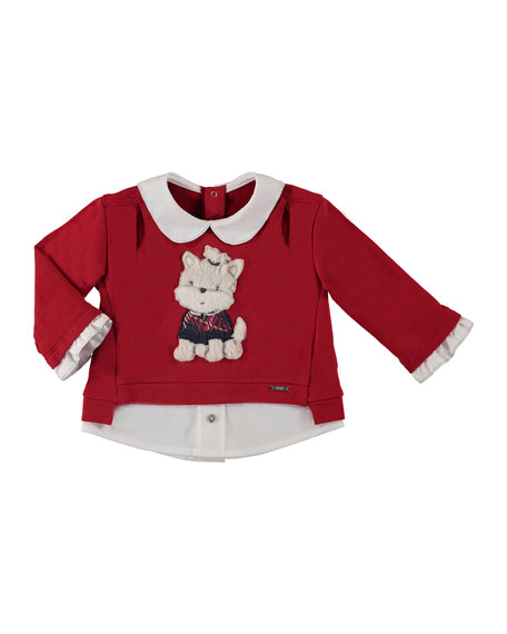 Mayoral Cotton-Stretch Puppy Sweater, Size 6-36 Months