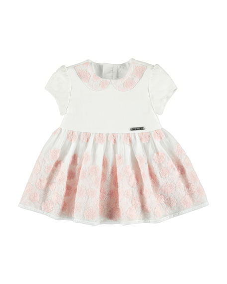 Mayoral Floral-Embroidery Dress, Rose, Size 6-36 Months